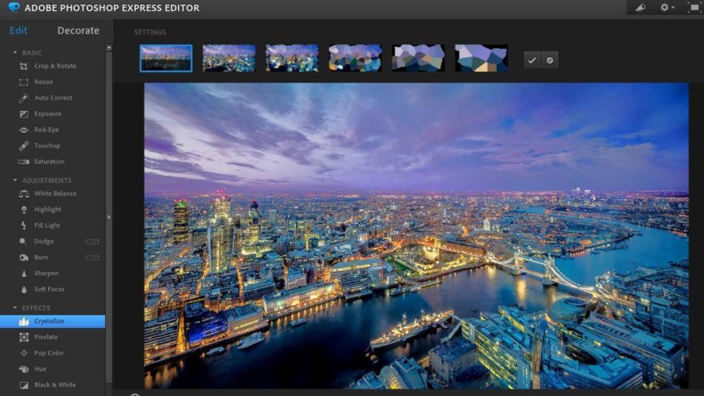 logiciel retouche photo Adobe Photoshop Express Editor